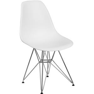 White Plastic Chair with Chrome Base