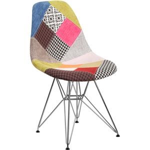 Milan Patchwork Fabric Chair with Chrome Bas