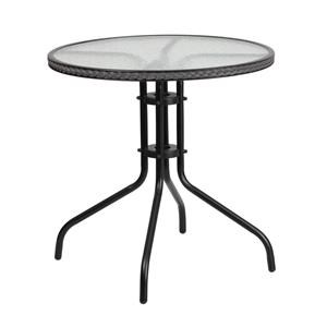 28'' Round Tempered Glass Metal Table with G