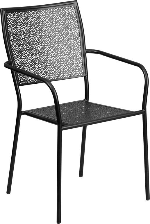 Black Indoor-Outdoor Steel Patio Arm Chair w