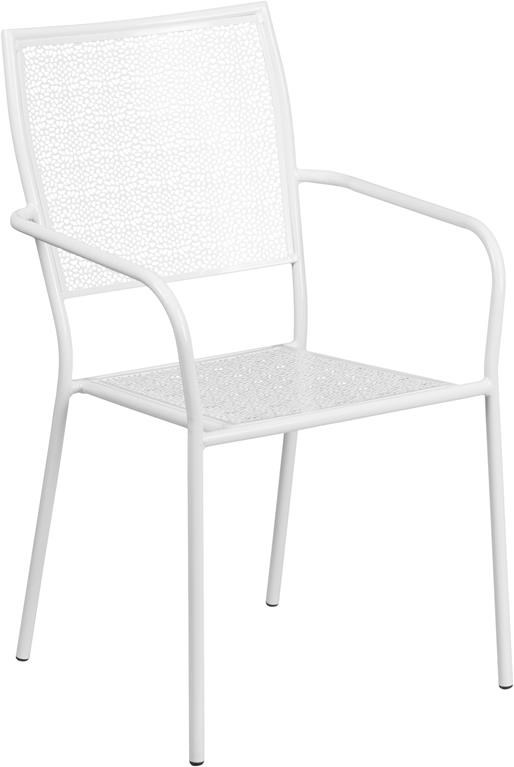 White Indoor-Outdoor Steel Patio Arm Chair w