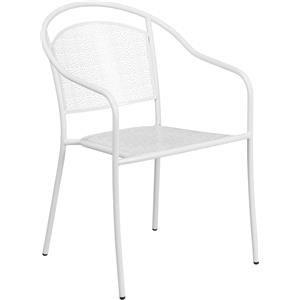 White Indoor-Outdoor Steel Patio Arm Chair w