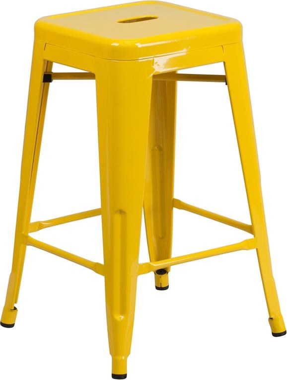 24'' High Backless Yellow Metal Indoor-Outdo