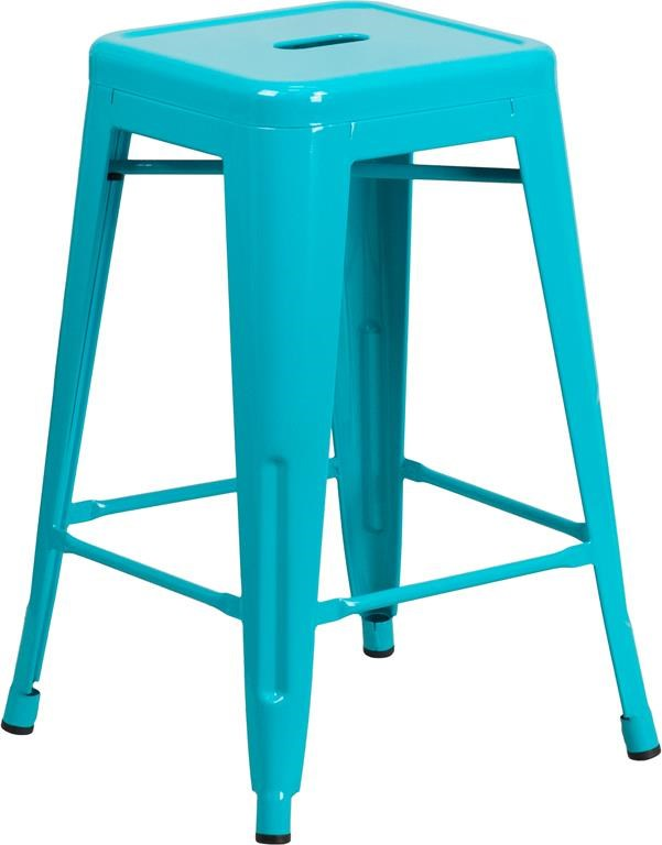 24'' High Backless Teal Indoor-Outdoor Count