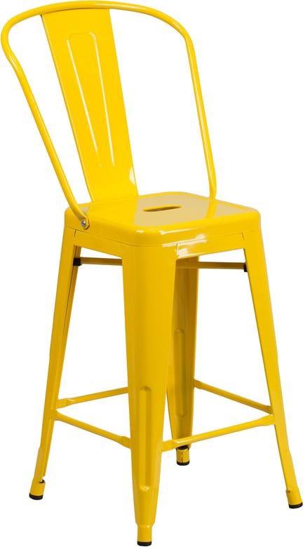 24'' High Yellow Metal Indoor-Outdoor Counte