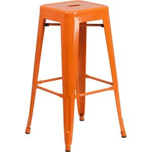 30'' High Backless Orange Metal Indoor-Outdo