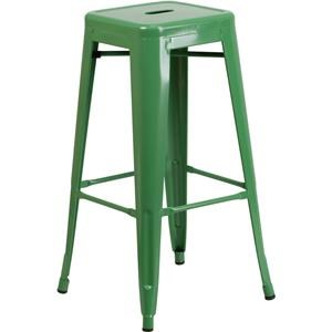 30'' High Backless Green Metal Indoor-Outdoo