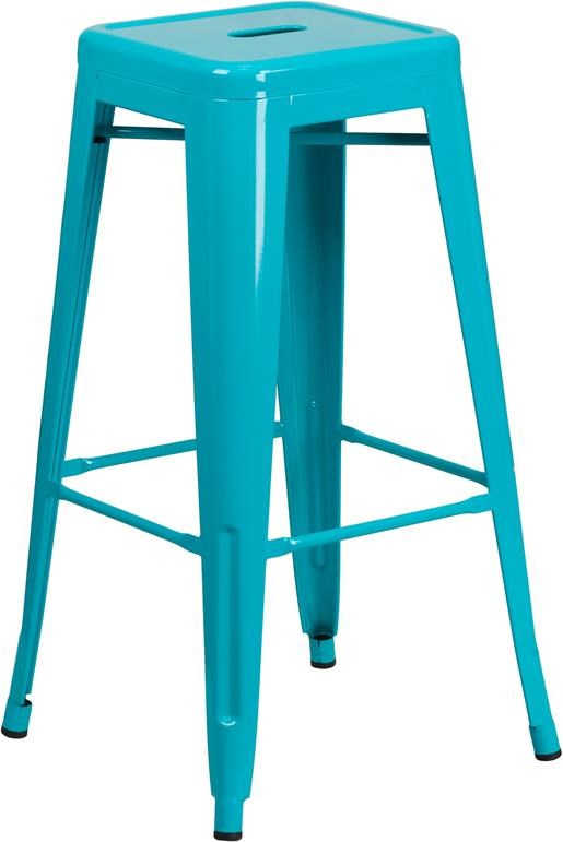 30'' High Backless Teal Indoor-Outdoor Barst