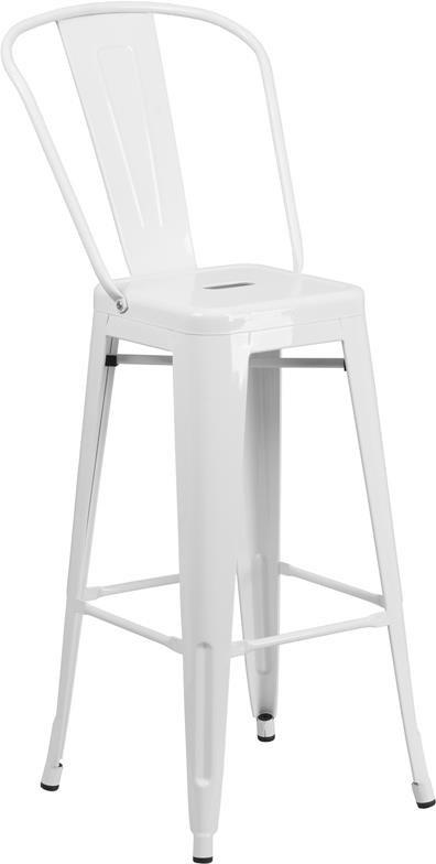 30'' High White Metal Indoor-Outdoor Barstoo