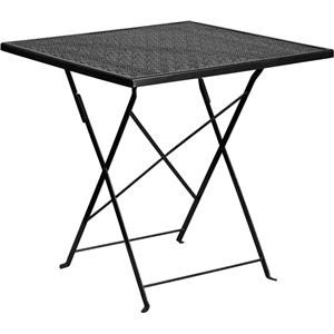 28'' Square Black Indoor-Outdoor Steel Foldi