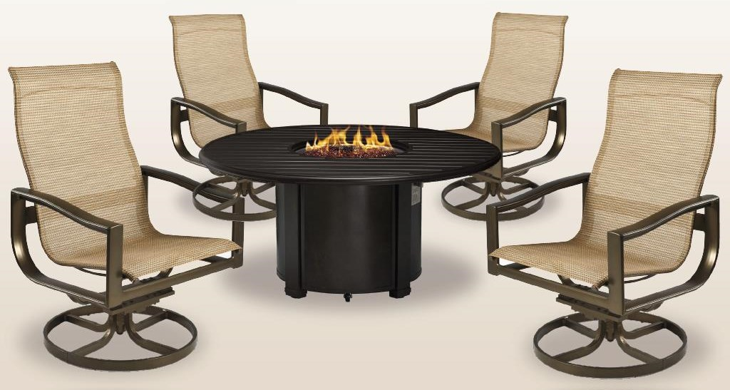44 inch Firepit, 4 Swivel Tilt Chat Chairs