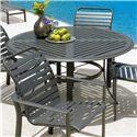 "Winston Cast Aluminum Tables 54"" Round Aluminum-Slat Dining Table - Item Number: MEXT054+M9354B"