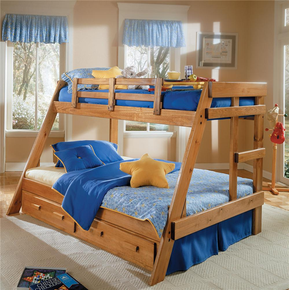 Woodcrest Heartland Br Twin Full Size Bunk Bed With Storage A1