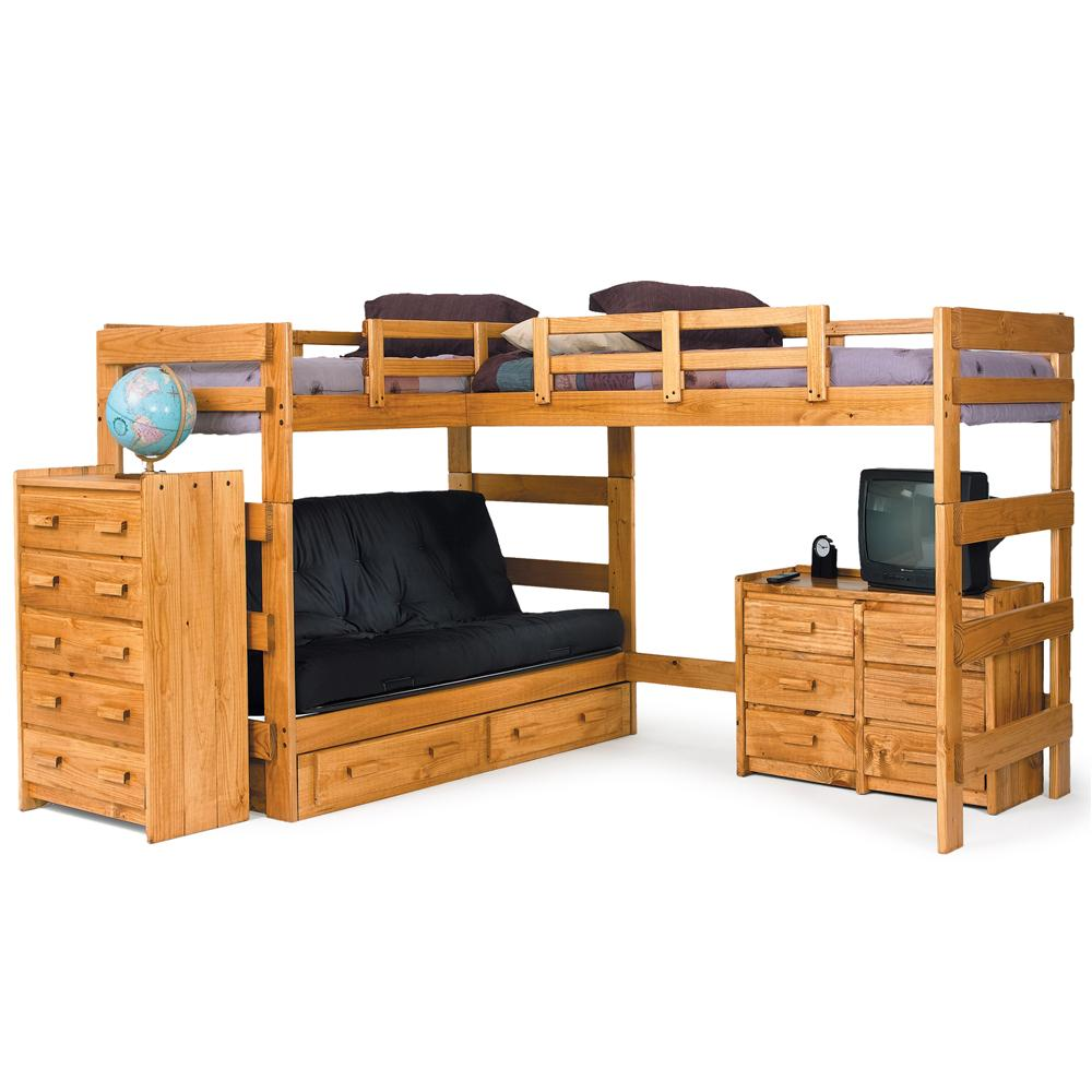 Woodcrest Heartland BR Casual Style L-Shaped Loft Bed with Built-In Futon | A1 Furniture u0026 Mattress | Loft Bed  sc 1 st  A1 Furniture u0026 Mattress & Woodcrest Heartland BR Casual Style L-Shaped Loft Bed with Built-In ...