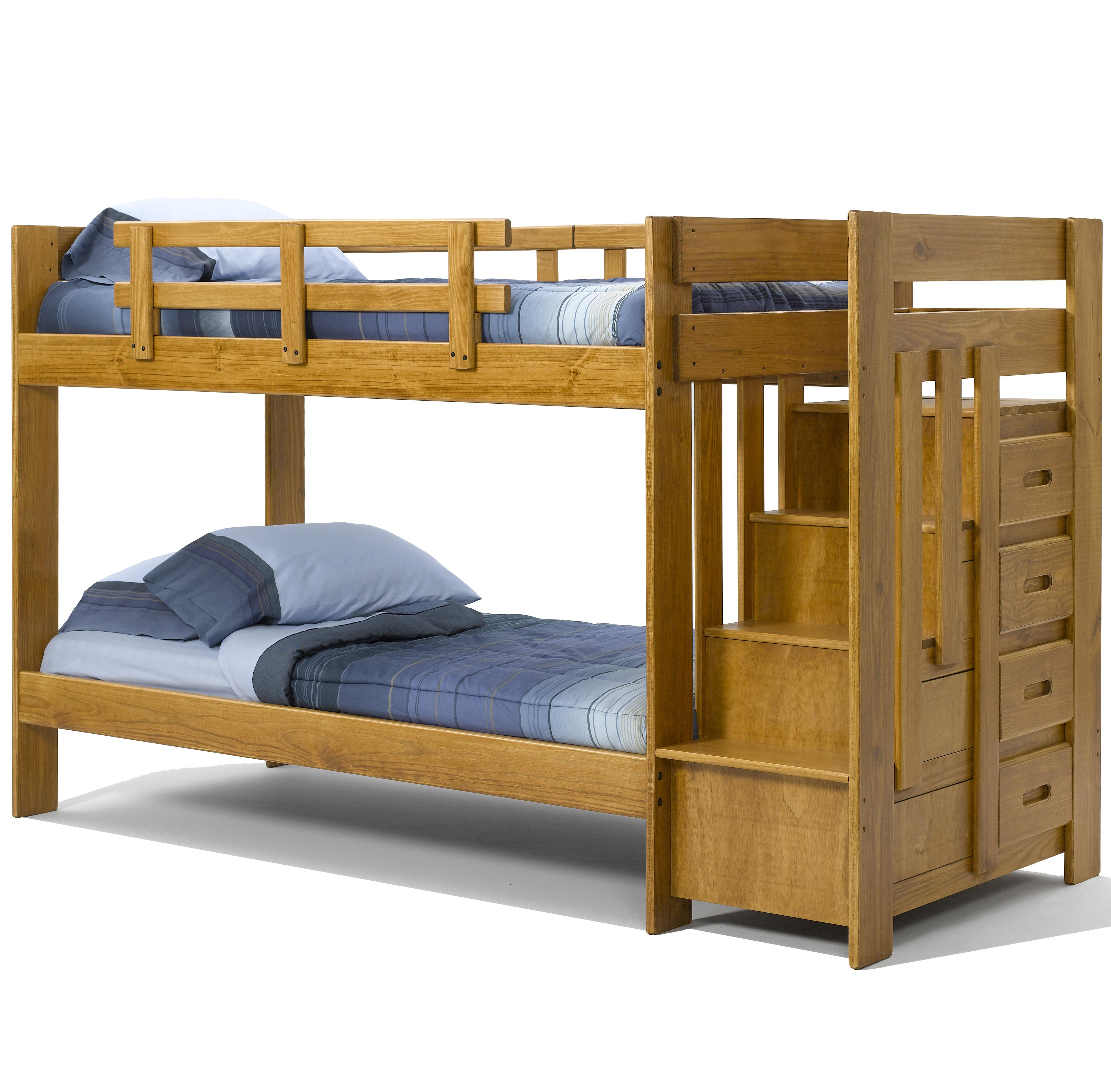 Woodcrest Heartland BR Twin Over Twin Reversible Stair Bunk   Item Number:  STH 154