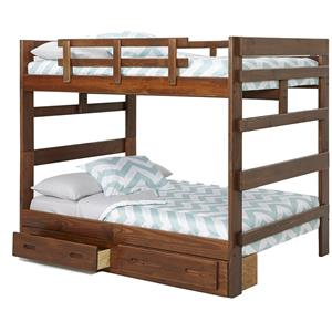 Woodcrest Heartland Traditional Style Wooden Bunk Bed With Built In