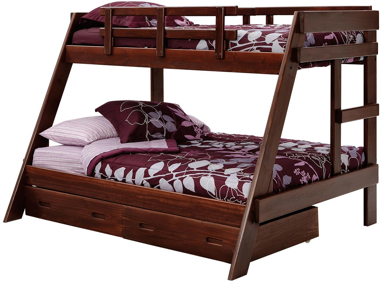 woodcrest heartland twin/full size bunk bed with storage - prime
