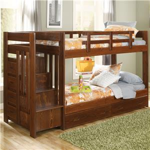 Woodcrest Heartland Twin Over Twin Reversible Stair Bunk