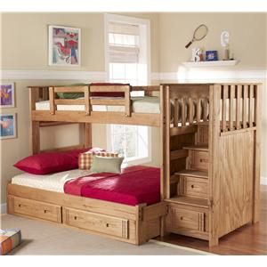 Woodcrest Woody Creek Twin/Full Front Loading Stairway Bunk