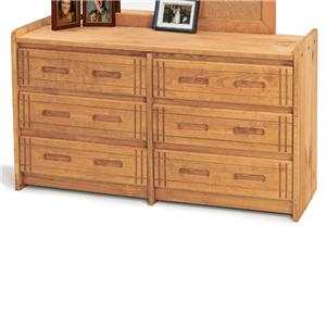 Woodcrest Woody Creek Large 6-Drawer Dresser
