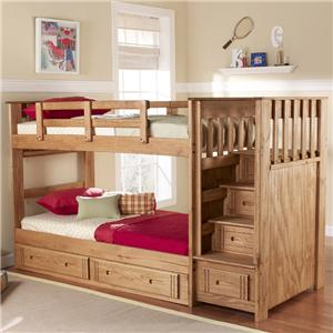 Woodcrest Woody Creek Twin/Twin Front Loading Stairway Bunk