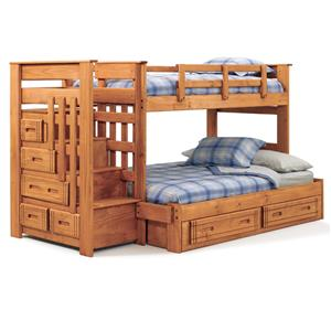 Woodcrest Woody Creek Woody Creek Twin/Full Stairway Bunk Bed