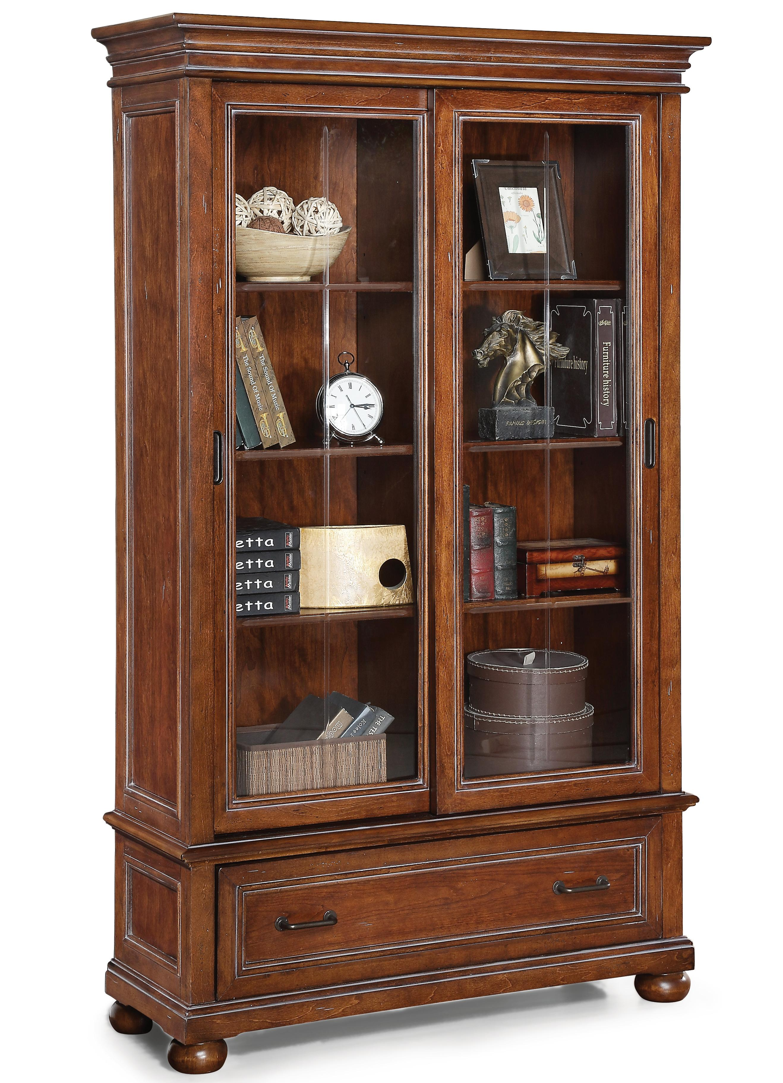 Flexsteel Wynwood Collection American Heritage Sliding Door Bookcase - Item Number: W1209-708