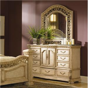 Flexsteel Wynwood Collection Antiguo Blanco Dresser and Mirror Combination Set