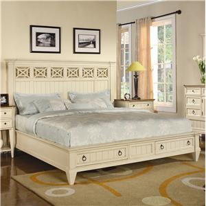 Flexsteel Wynwood Collection Garden Walk Queen Panel Storage Bed