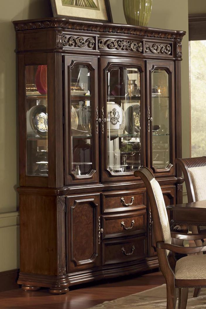 Granada China Cabinet With Mirrored Back And Lighting By Flexsteel Wynwood  Collection