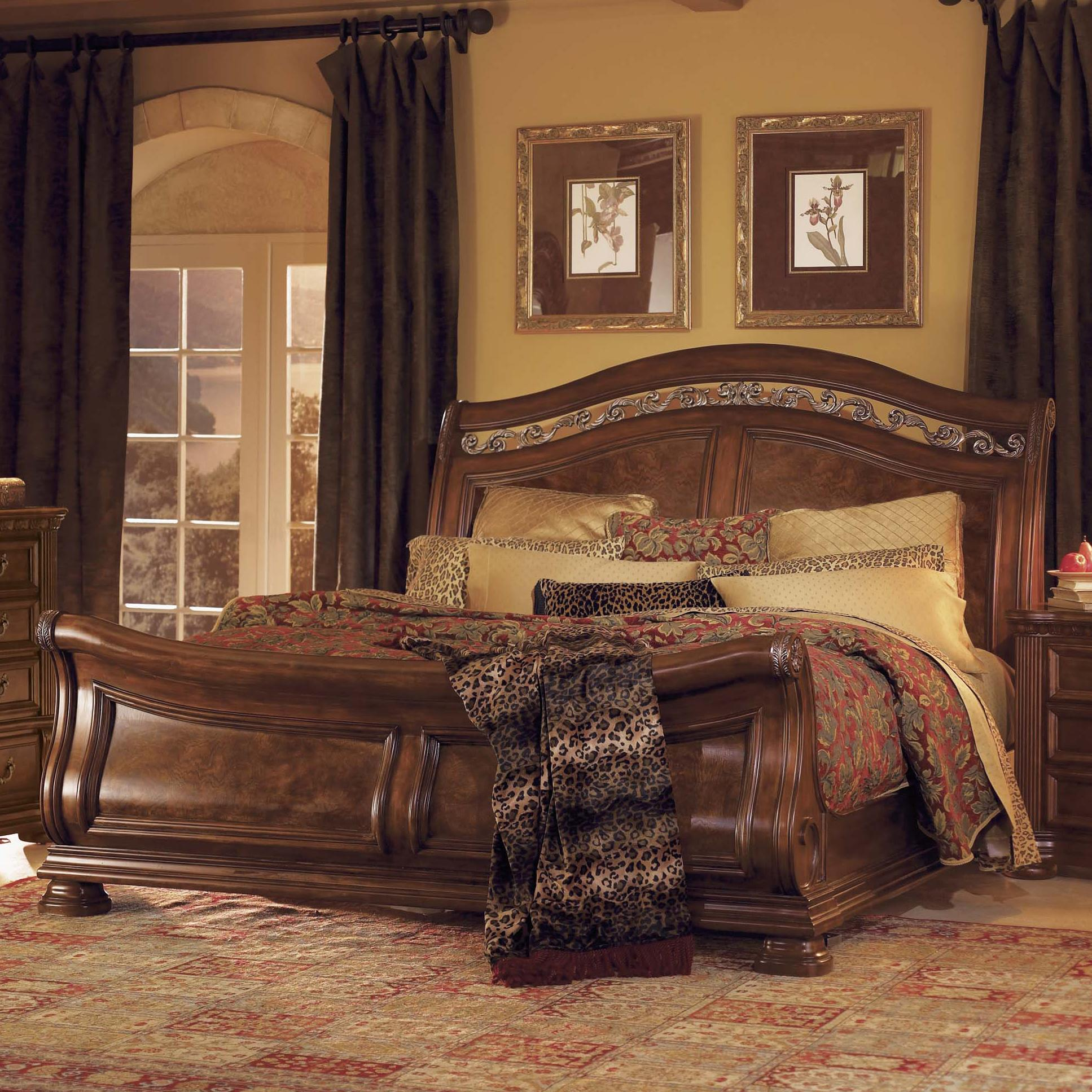 Flexsteel Wynwood Collection Granada King Sleigh Bed With Wrought Iron  Accents   AHFA   Sleigh Bed Dealer Locator