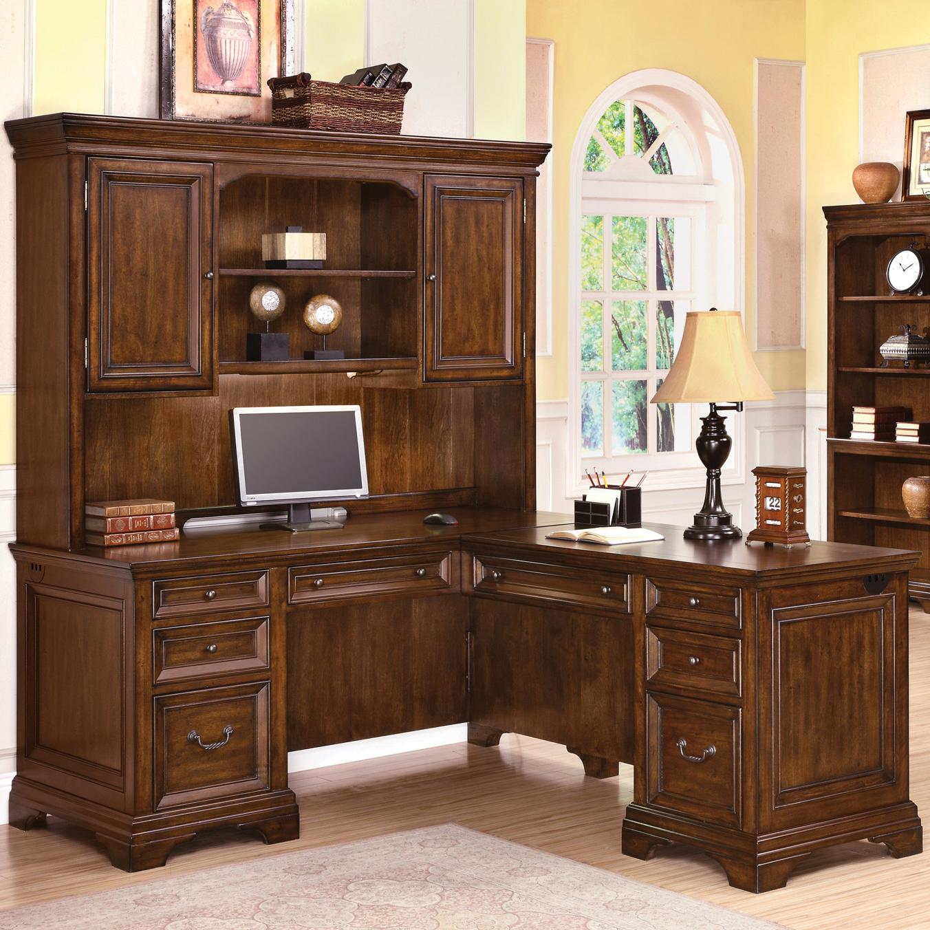 Super Woodlands L Shaped Desk And Hutch By Wynwood A Flexsteel Company At Conlins Furniture Home Interior And Landscaping Ologienasavecom