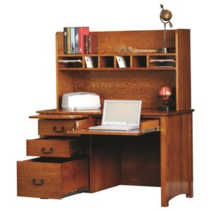 Y & T Woodcraft Rivertown Home Office Desk and Hutch