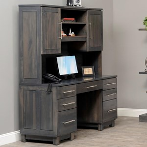 Y U0026 T Woodcraft Urban Office Desk And Hutch With Keyboard Drawer |  Saugerties Furniture Mart | Desk U0026 Hutch Sets