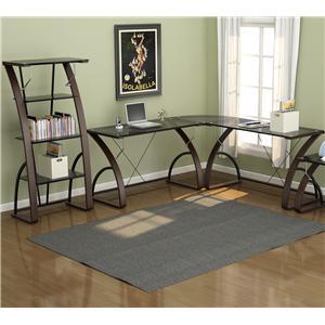 Z Line Designs Bentwood 4 Piece Contemporary L Shape Desk