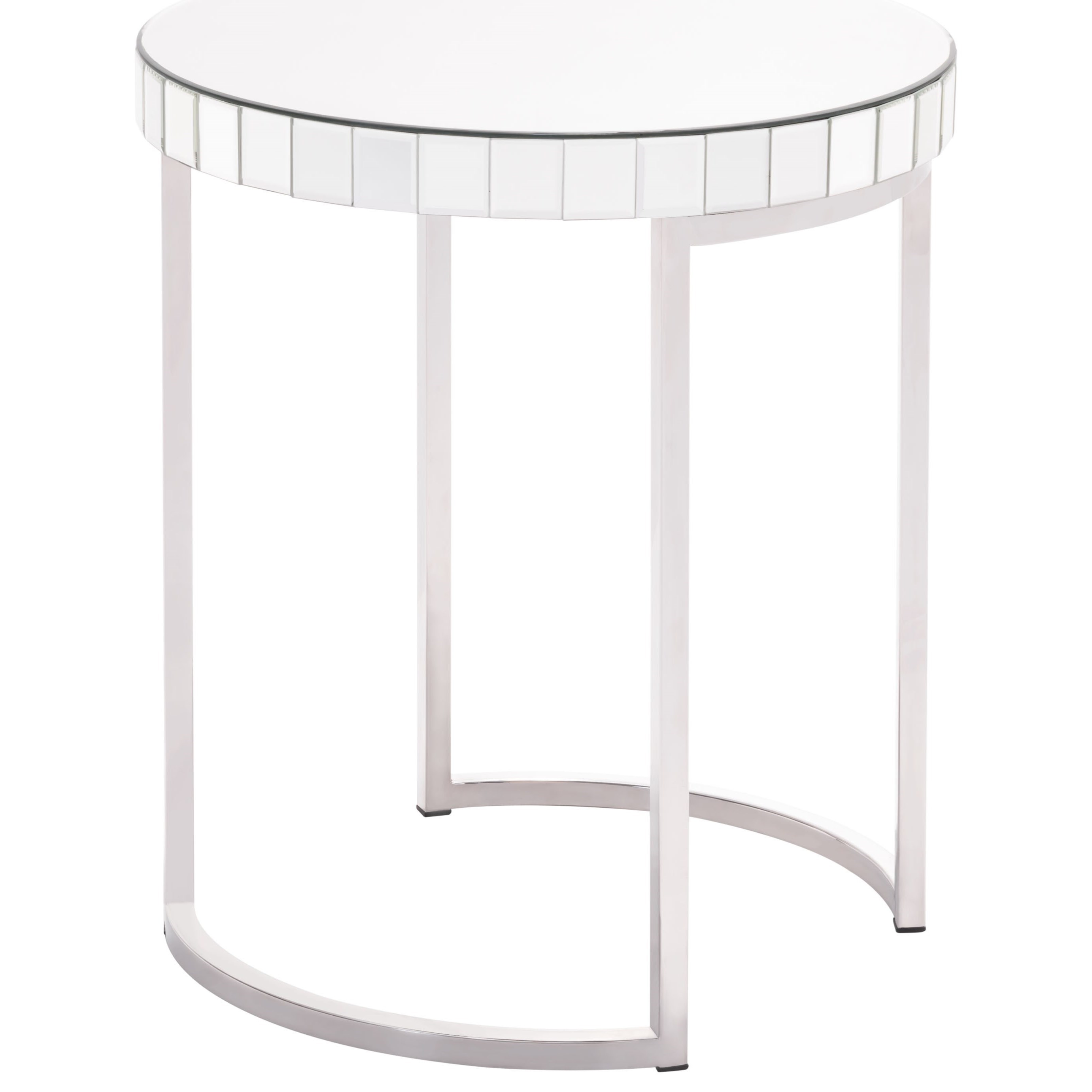Accent Tables Mirrored Circular End Table by Zuo at Nassau Furniture and Mattress