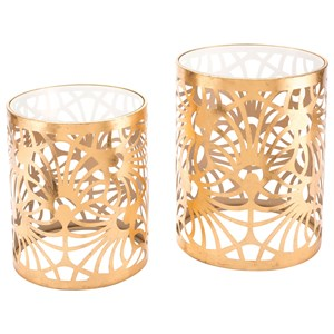 Tropic Set of 2 Gold Tables