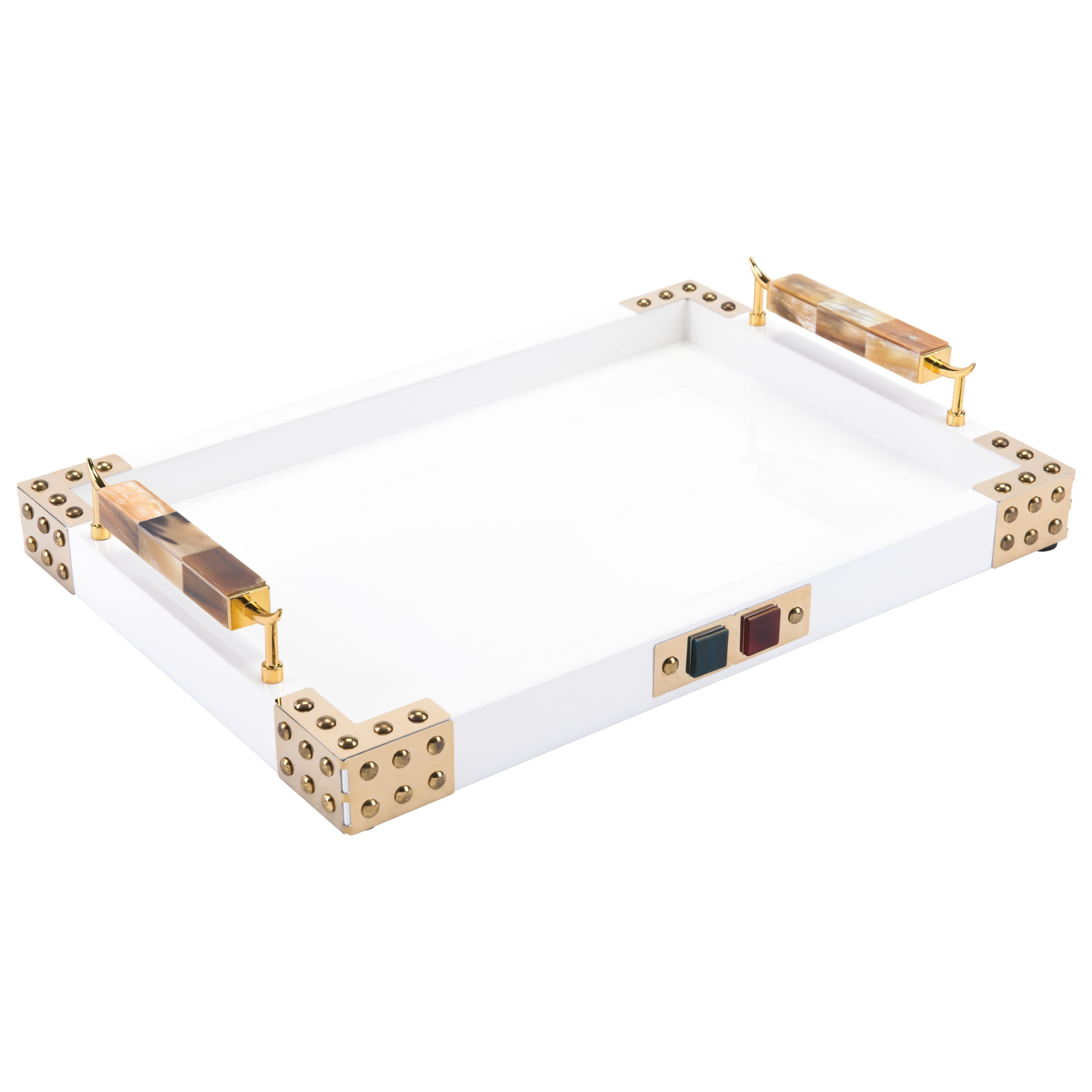Zuo Boxes, Bowls and Trays Rectangular Tray with Horn & Agate Handle - Item Number: A10359