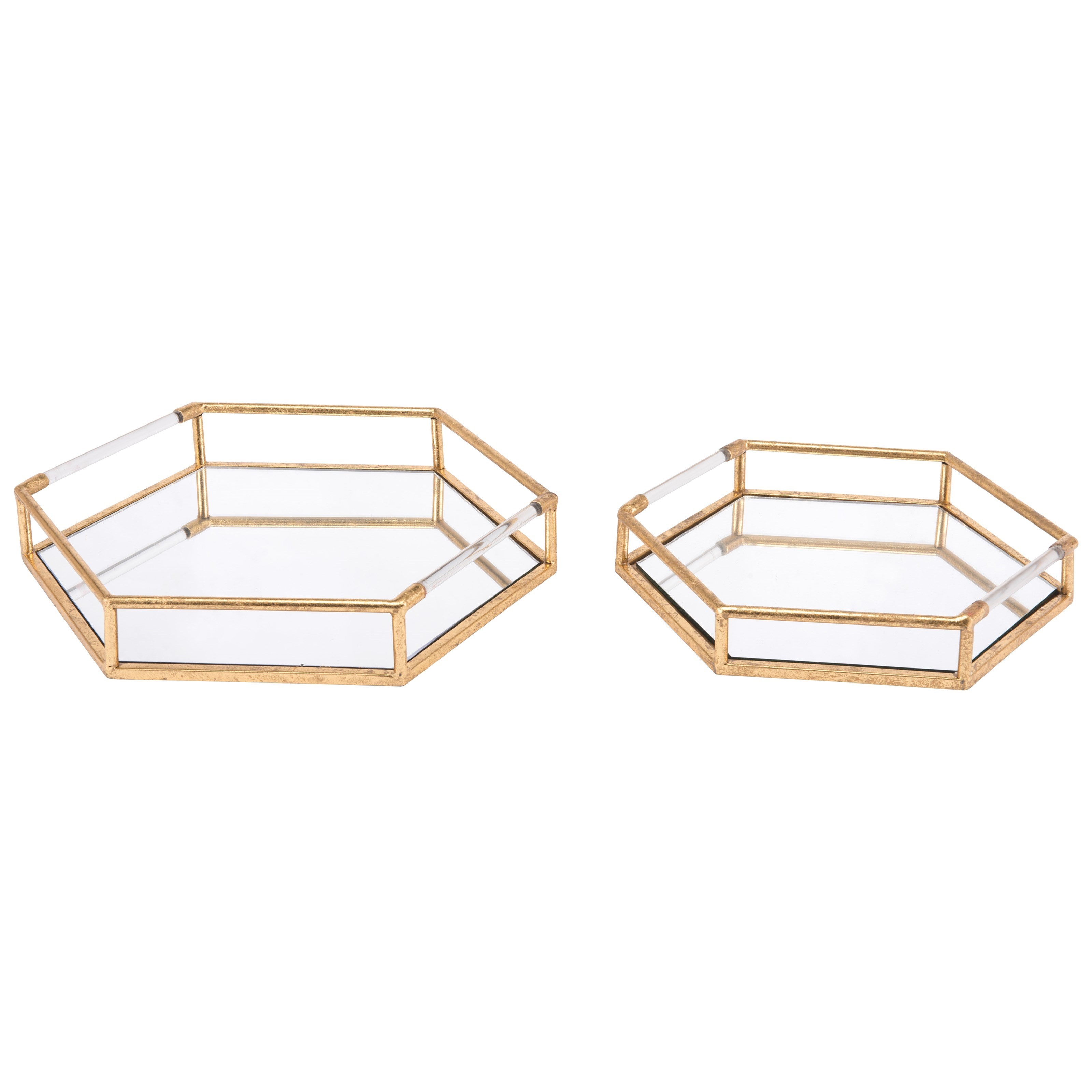 Zuo Boxes, Bowls and Trays Set of 2 Golden Trays - Item Number: A10641