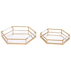 Zuo Boxes, Bowls and Trays Set of 2 Golden Trays