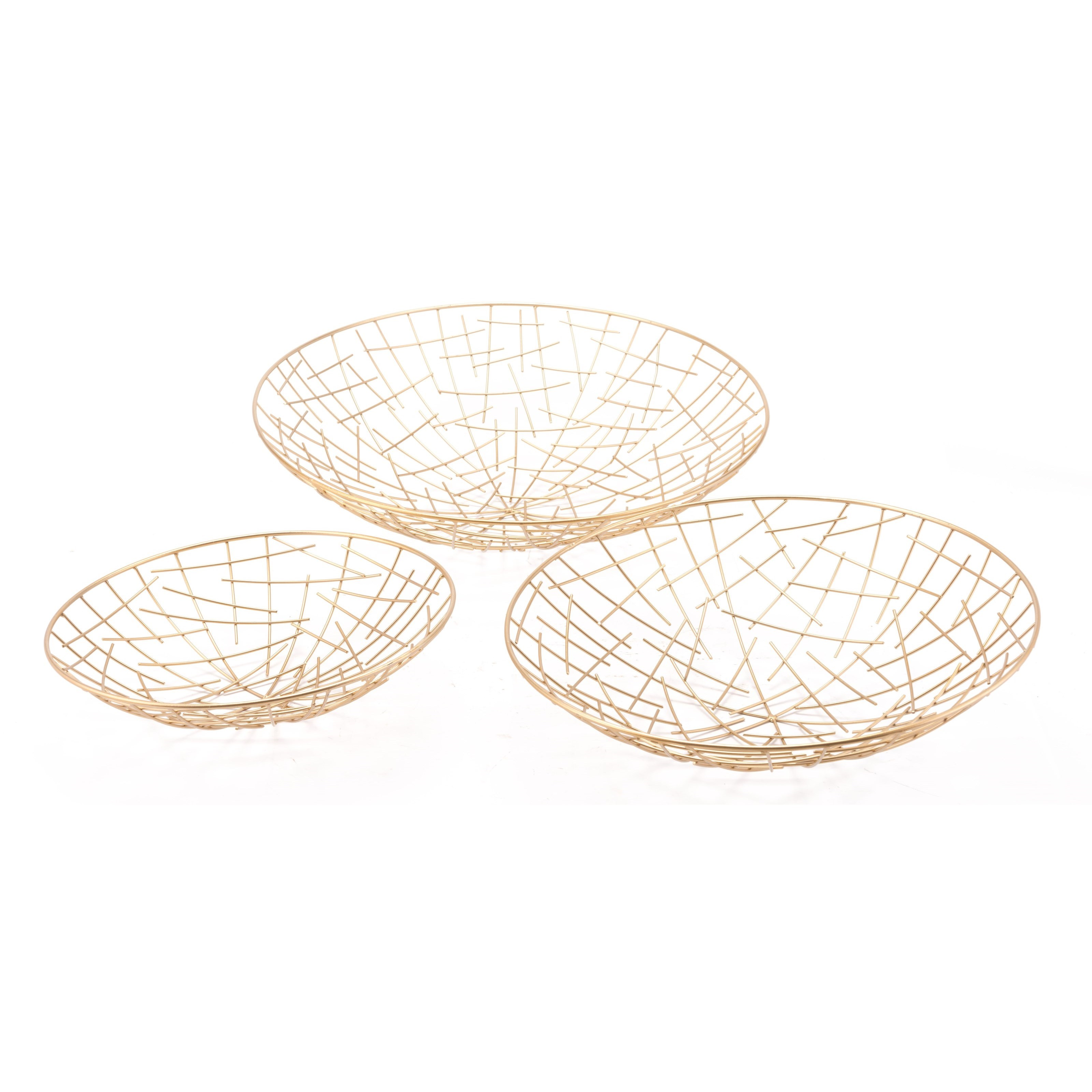 Zuo Boxes, Bowls and Trays Set of 3 Gold Plate - Item Number: A10818