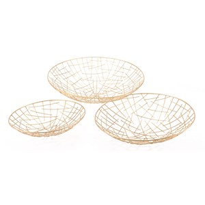 Zuo Boxes, Bowls and Trays Set of 3 Gold Plate