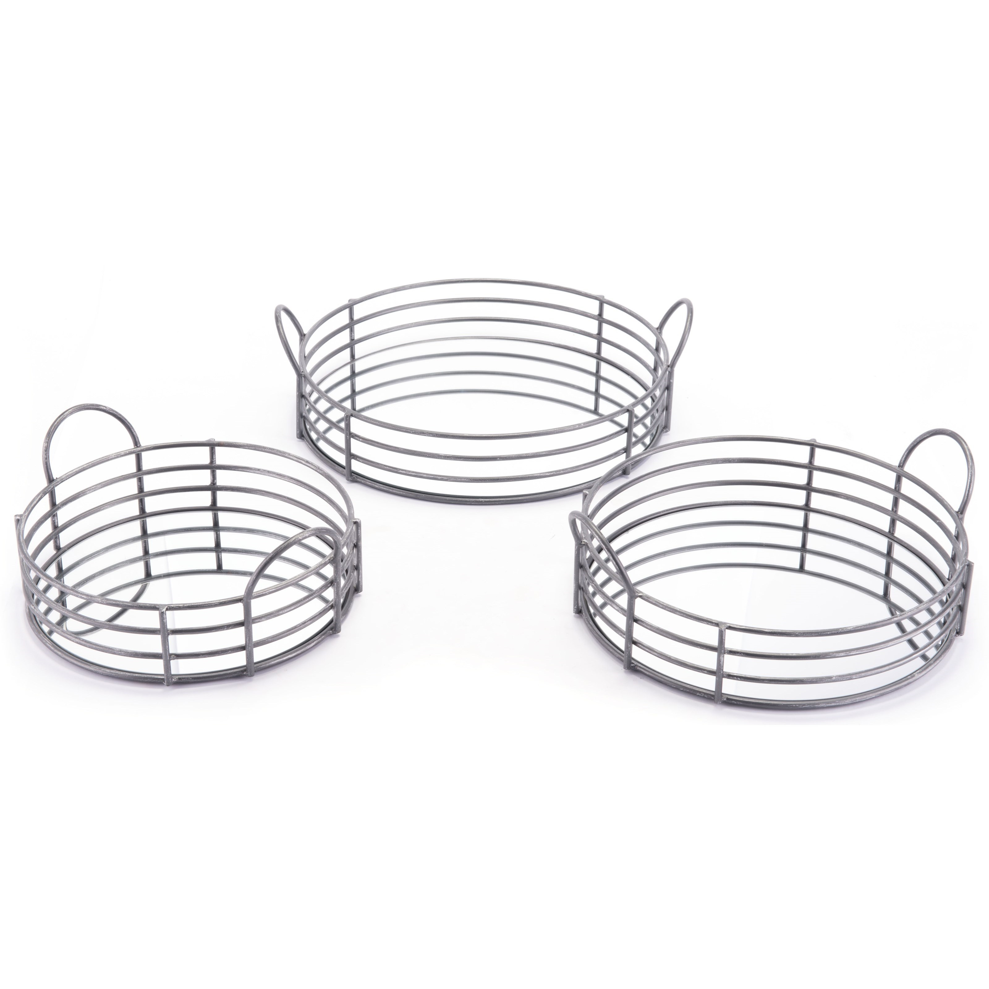 Zuo Boxes, Bowls and Trays Set of 3 Round Trays - Item Number: A10891