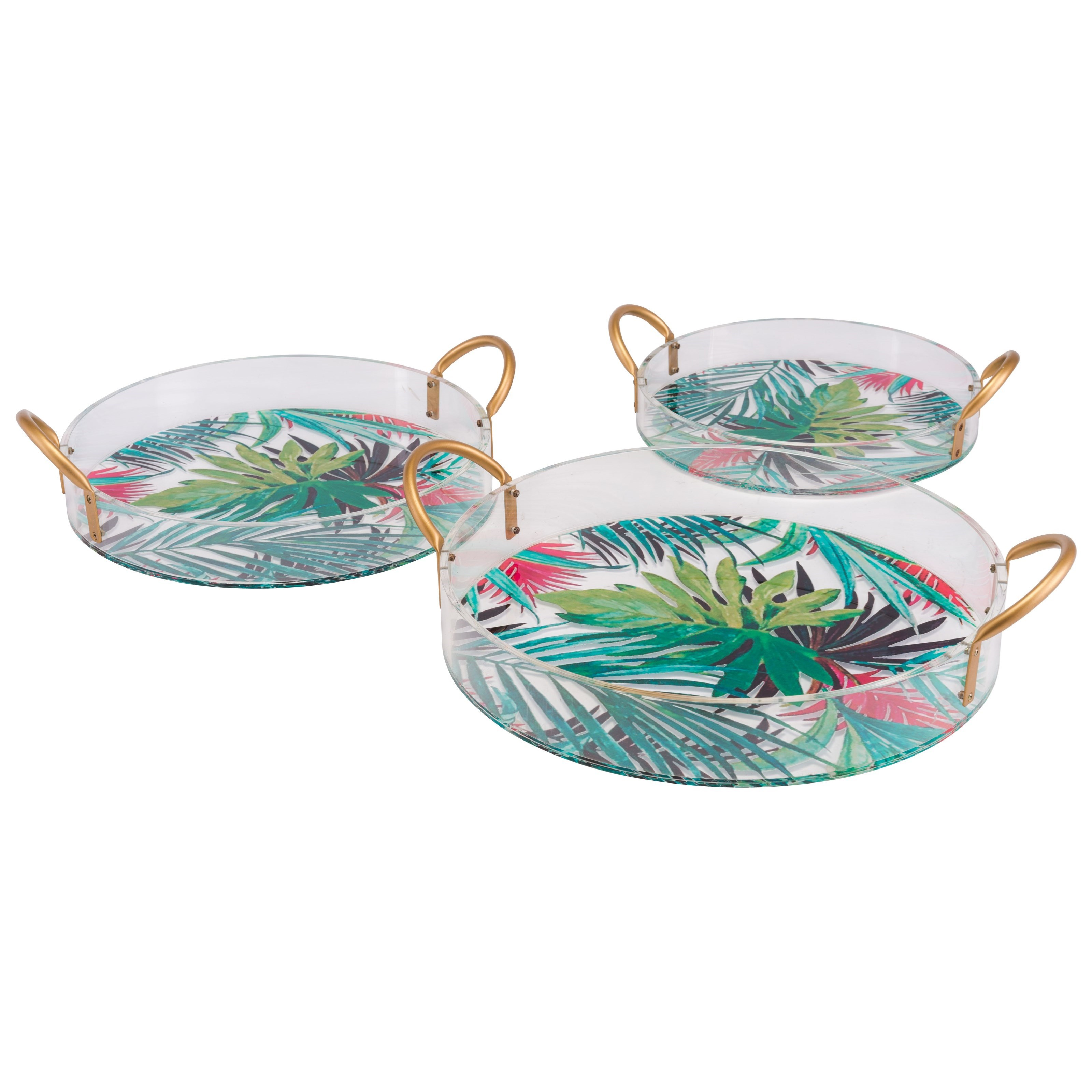 Zuo Boxes, Bowls and Trays Tropical Set of 3 Trays - Item Number: A11011