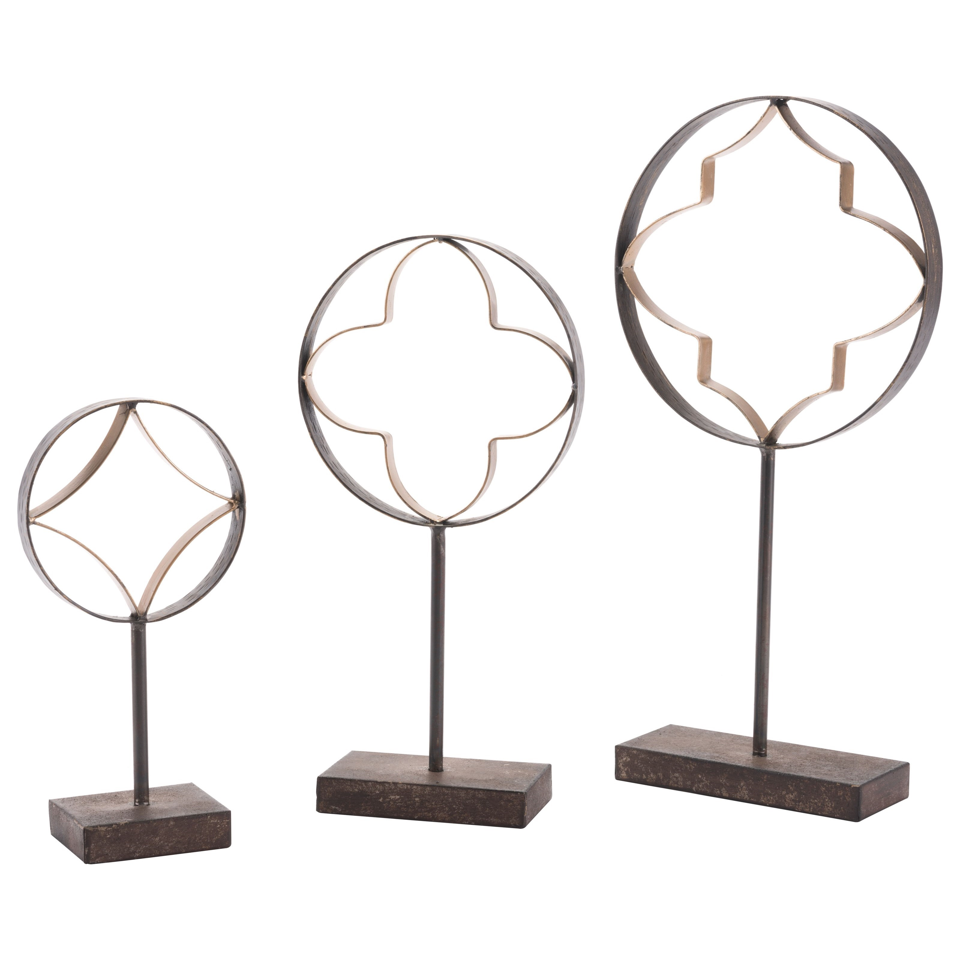 Zuo Figurines and Objects Set of 3 Quatrefoil with Pedestal - Item Number: A10653