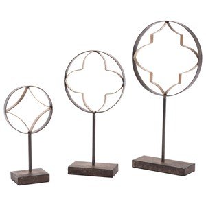 Zuo Figurines and Objects Set of 3 Quatrefoil with Pedestal