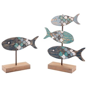 Zuo Figurines and Objects Set of 2 Fish Figurines