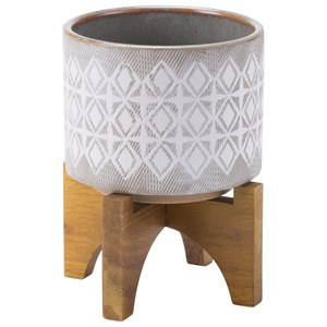 Zuo Planters Planter with Wooden Base Small