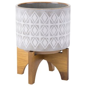 Zuo Planters Planter with Wooden Base Medium