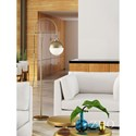 Zuo Pure Lighting Waterloo Floor Lamp White & Brushed Brass - Item Number: 56053